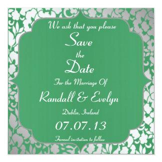 Metallic Emerald Green Save The Date Notice 13 Cm X 13 Cm Square Invitation Card