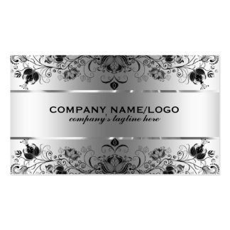 Metallic Faux Silver With Black Lace Pack Of Standard Business Cards