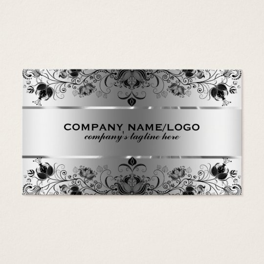 Metallic Faux Silver With Black Lace Business Card