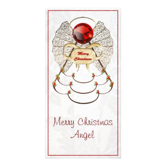 Metallic Filigree Merry Christmas Angel Customized Photo Card