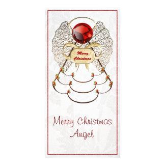 Metallic Filigree Merry Christmas Angel Photo Greeting Card