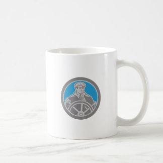Metallic Fisherman Sea Captain Circle Retro Coffee Mugs