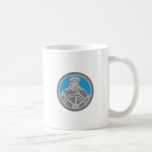 Metallic Fisherman Sea Captain Circle Retro Coffee Mugs