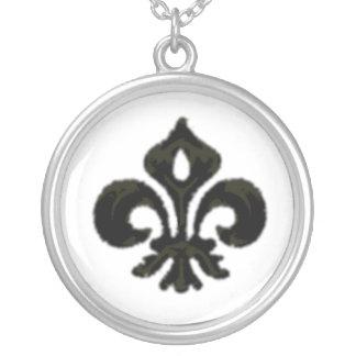 Metallic Fleur de lis (Black) Round Pendant Necklace