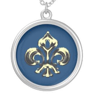 Metallic Fleur de lis (Gold) Round Pendant Necklace