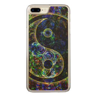 Metallic Future Urban Landscape Yin Yang Symbol Carved iPhone 7 Plus Case