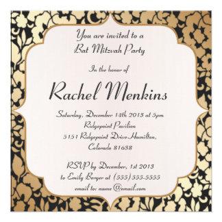 Metallic Gold and Black Bat Mitzvah Invitation