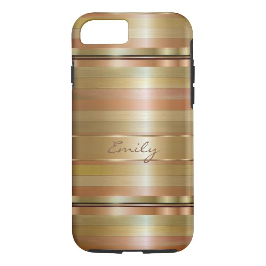 Metallic Gold And Copper Stripes 2 iPhone 7 Case