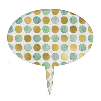 Metallic Gold and Green Polka Dot Print Cake Toppers