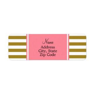 Metallic Gold and  Pink Striped Pattern