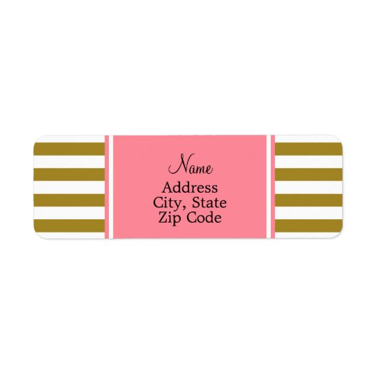 Metallic Gold and  Pink Striped Pattern