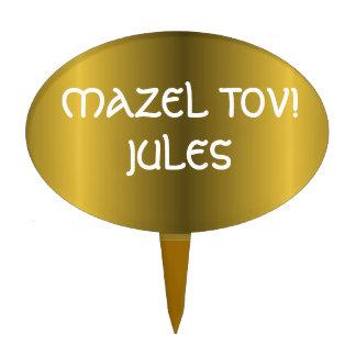 Metallic Gold Bar Bat Mitzvah Cake Toppers