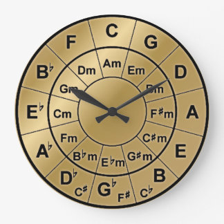 Metallic Gold Circle of Fifths Chord Wheel Clock