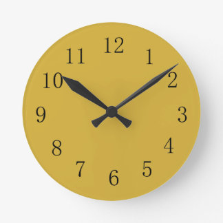 Metallic Gold Color Yellow Kitchen Wall Clock