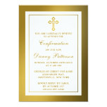 Metallic Gold Cross Holy Communion Or Confirmation 13 Cm X 18 Cm Invitation Card