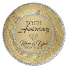Metallic Gold Damask And Diamonds 50th Anniversary Plate