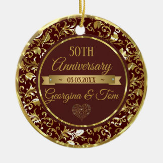 Metallic Gold Damask And Ribbon Christmas Ornament