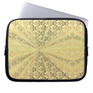 Metallic gold damsk laptop sleeve