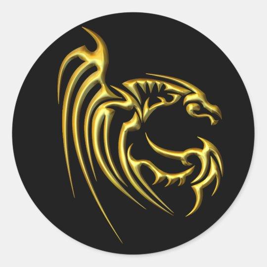 Metallic Gold Dragon Classic Round Sticker
