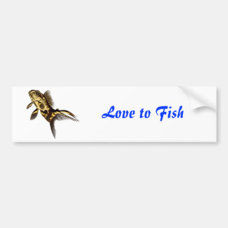 Metallic Gold Fish Car Bumper Sticker