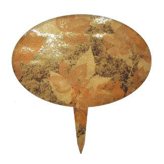 METALLIC GOLD FLORAL DESIGN CAKE PICKS