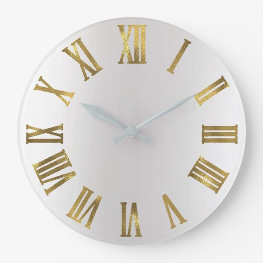 Metallic Gold Gray Silver Roman Numbers Large Clock