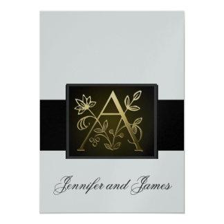 Metallic Gold Monogram A Silver Wedding Invitation
