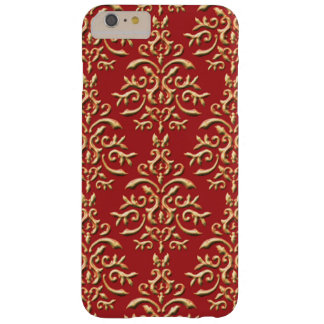 Metallic Gold Red Damask Pattern Barely There iPhone 6 Plus Case