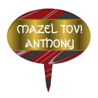 Metallic Gold Ribbon Bar Bat Mitzvah Cake Toppers