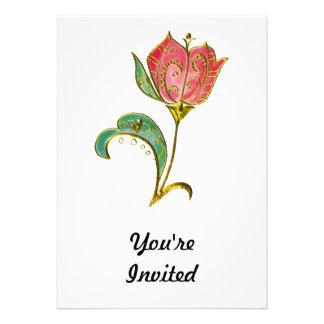 Metallic Gold Scrollwork Tulip Invite