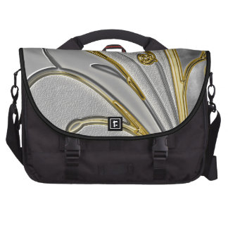 Metallic Gold & Silver Swirls Of Elegance Laptop Commuter Bag