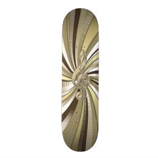 Metallic Gold Swirl Music Clef Skateboard