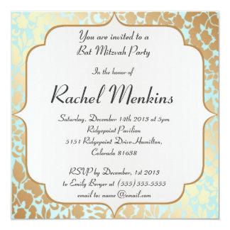 Metallic Golden Aqua Bat Mitzvah Invitation