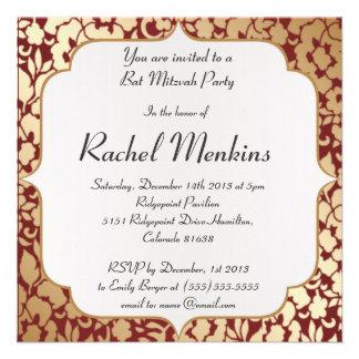 Metallic Golden Crimson Bat Mitzvah Invitation