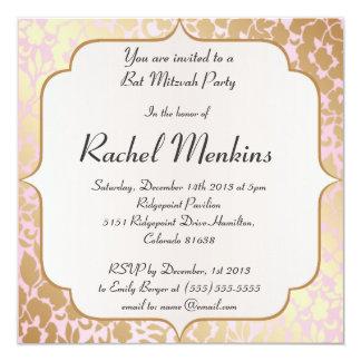 Metallic Golden Rose Pink Bat Mitzvah Invitation