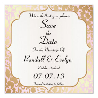 Metallic Golden Rose Pink Save The Date Notice 13 Cm X 13 Cm Square Invitation Card