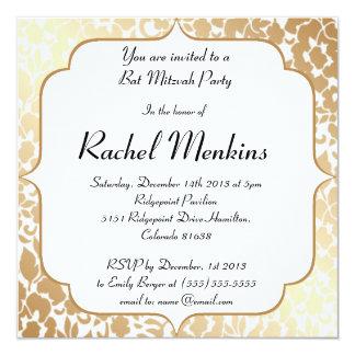 Metallic Golden White Floral Bat Mitzvah Invite