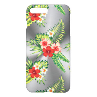 Metallic Gray & Colorful Tropical Flowers iPhone 7 Plus Case
