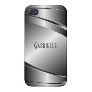 Metallic Gray Stainless Steel Look iPhone 4/4S Cases