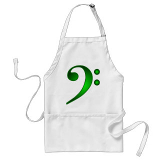 Metallic Green Bass Clef Standard Apron