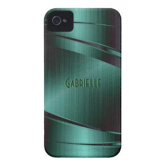 Metallic Green Design Brushed Aluminum Look iPhone 4 Cases