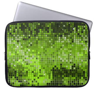 Metallic Green Sequins Look Disco Mirrors Bling Laptop Computer Sleeves