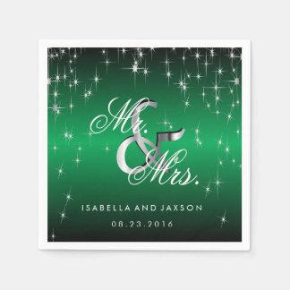Metallic Green Star Lights Design Paper Serviettes