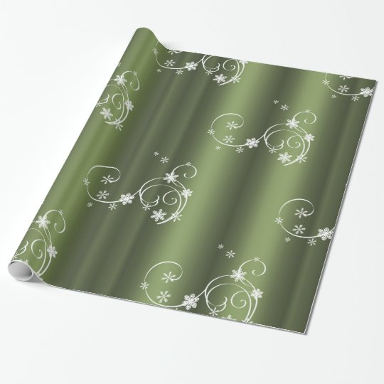 Metallic Green, White Swirls Christmas Wrapping Paper