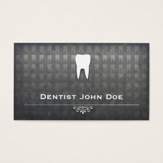metallic grey dentist dental office business card