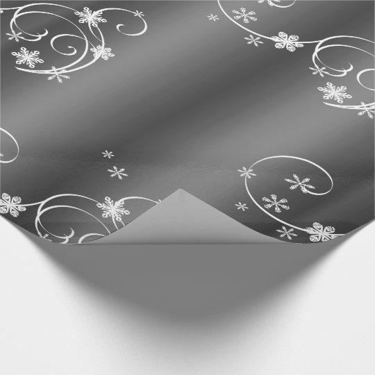 Metallic Grey, White Swirls Christmas Wrapping Paper
