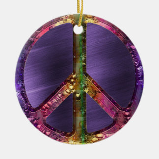 Metallic Grunge Purple Peace Sign Christmas Decor Christmas Ornament