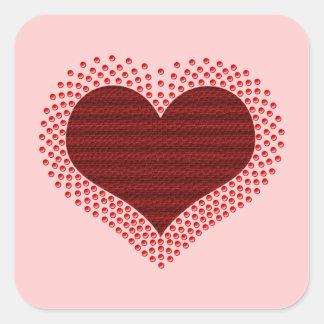 Metallic Heart Square Stickers, Red Square Sticker