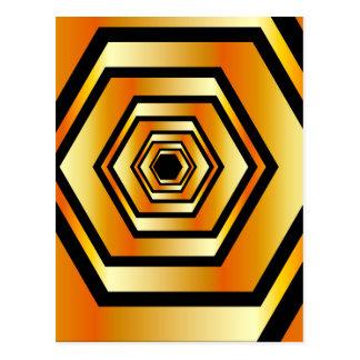 Metallic hexagonal illusion in gold colors postcard