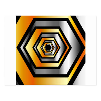 Metallic hexagonal illusion postcard